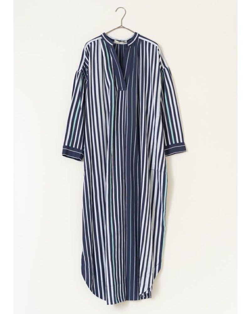 Navy Poplin Stripe Collar Dress