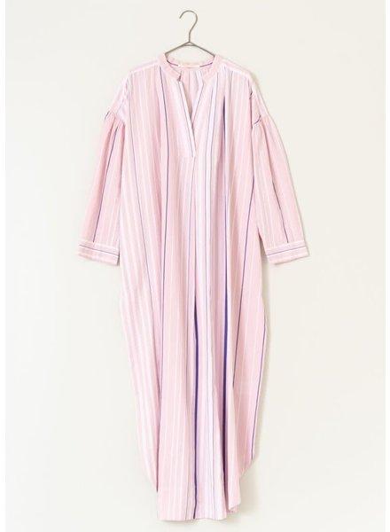 Pink Poplin Stripe Collar Dress