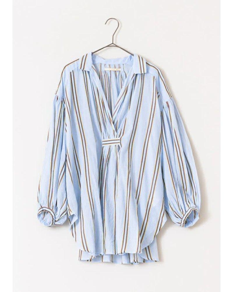 Blue Stripe Gathered Blouse- One Size