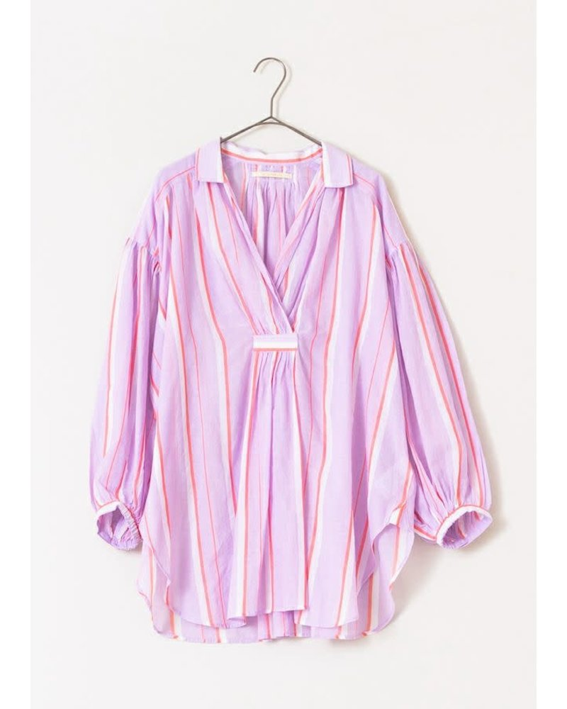 Lilac Stripe Gathered Blouse- One Size