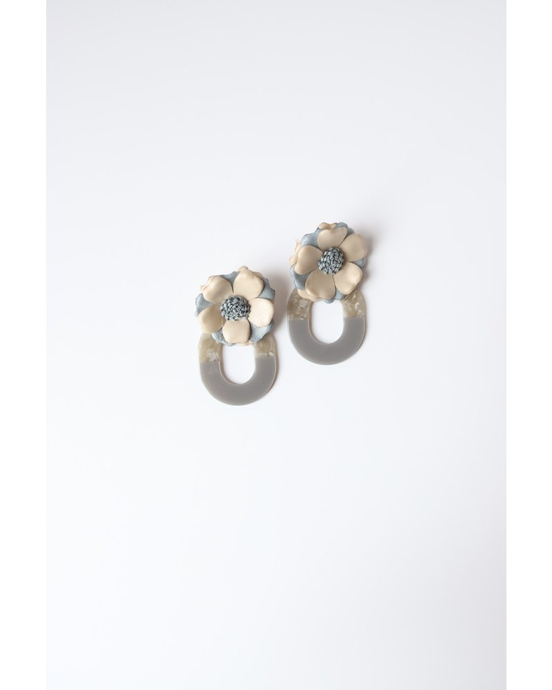 Flower and Oval Earrings