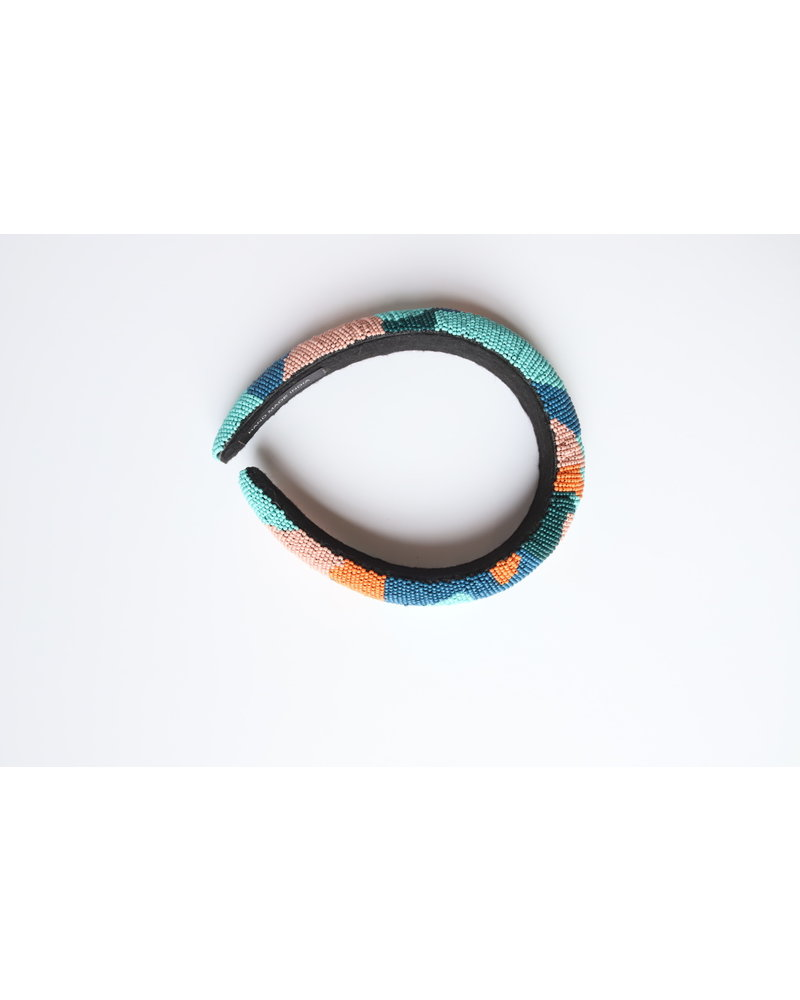 Blue Camo Seed Bead Headband