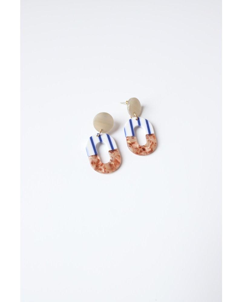 Stripe + Brown Oval Earrings