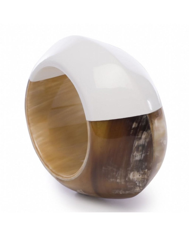 XL Buffalo Horn Bracelet with White Lacquer