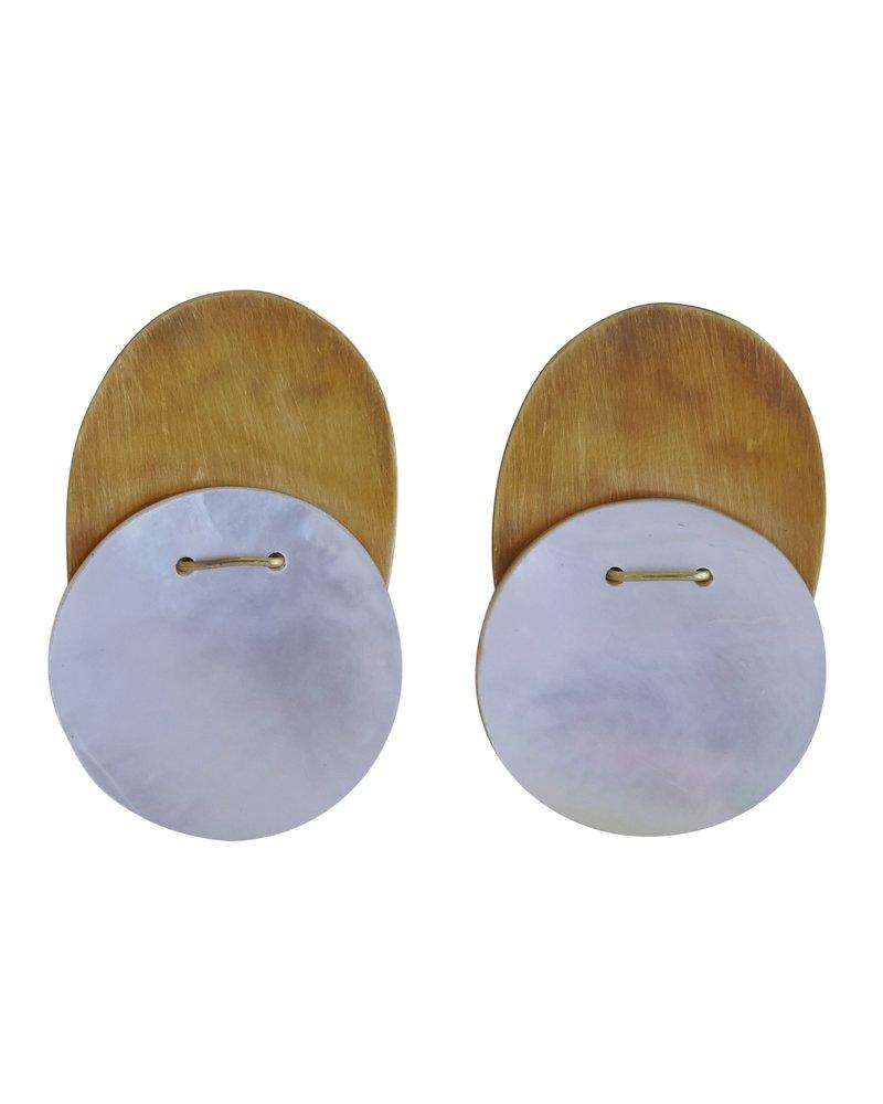 Brass & Mother of Pearl Earrings