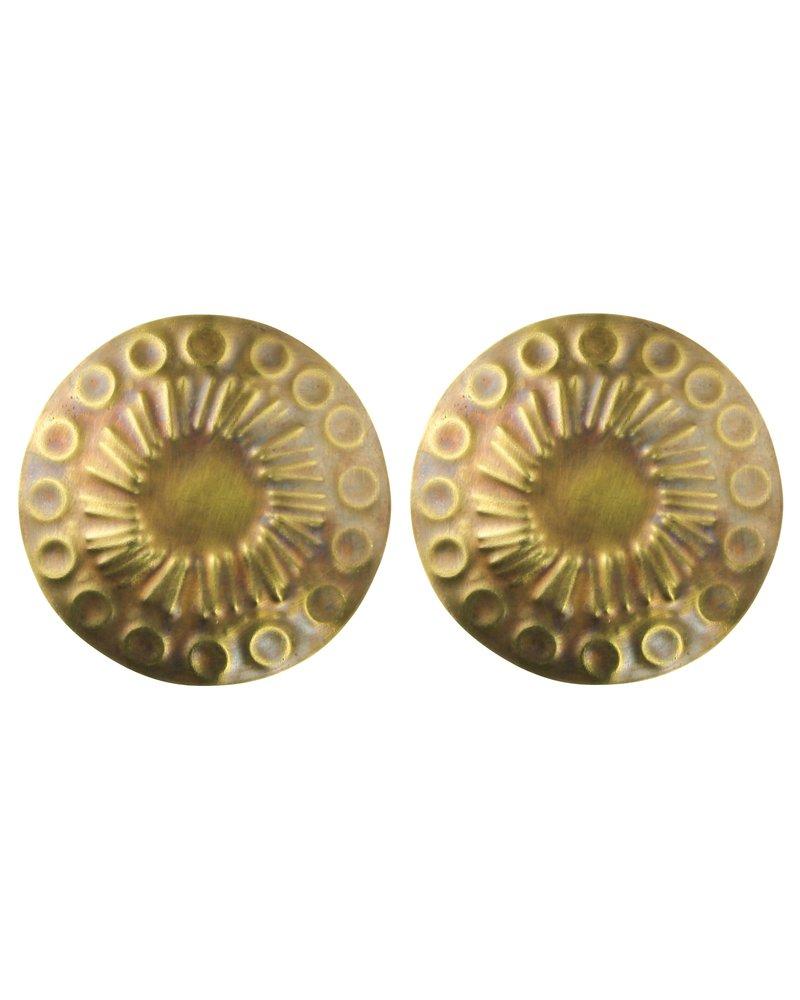 Embossed Brass Post Earrings