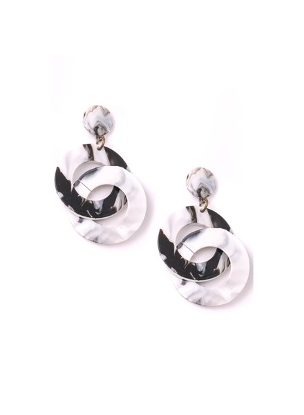 Black and White Marble Circle Earrings