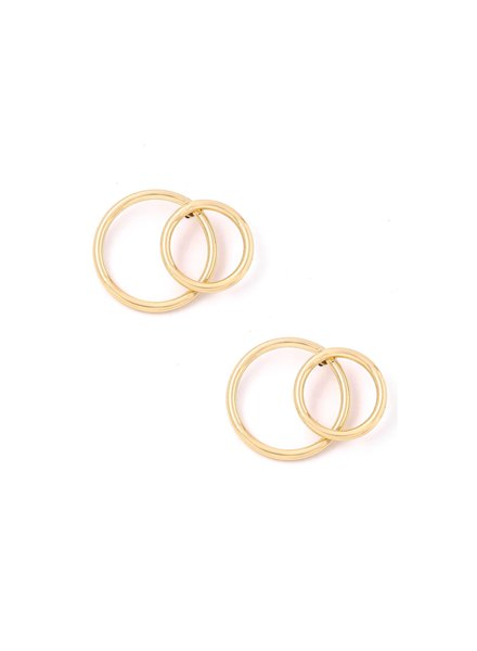 Gold Double Circle Post Earrings