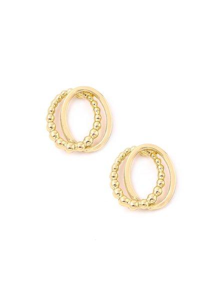 Gold Double Oval Post Earrings