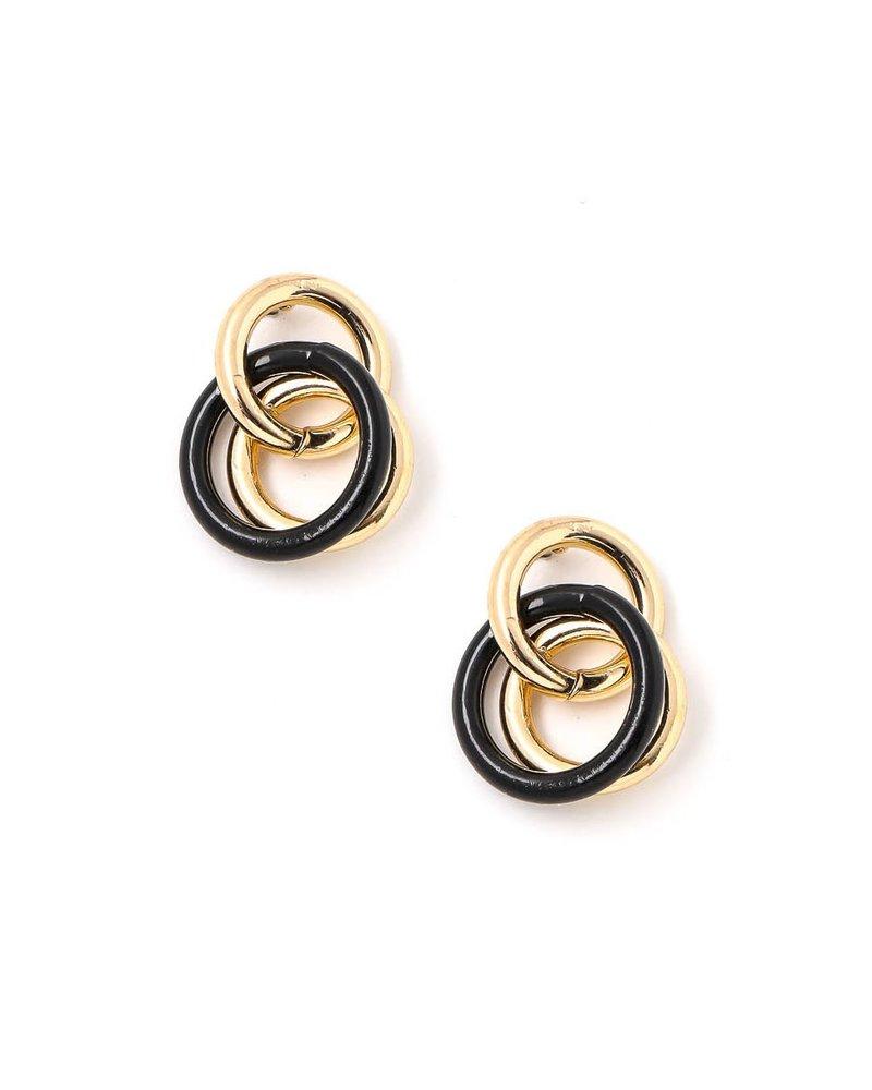 Triple Ring Linked Post Earrings- Gold & Black