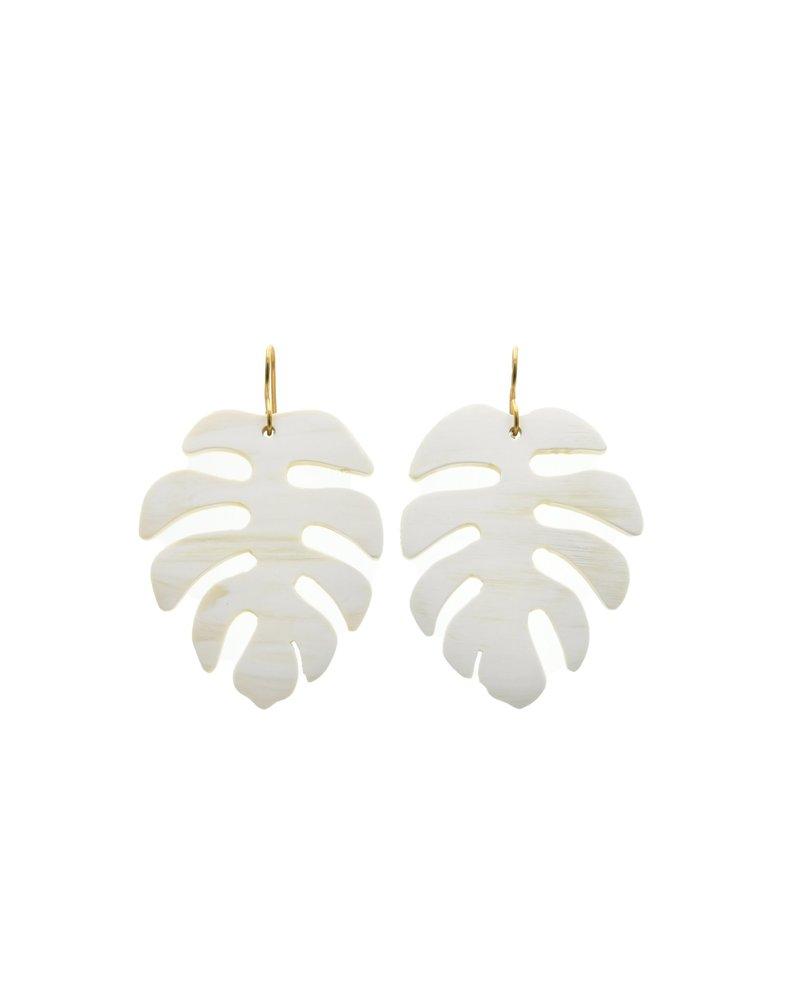 White Horn Palm Leaf Earrings