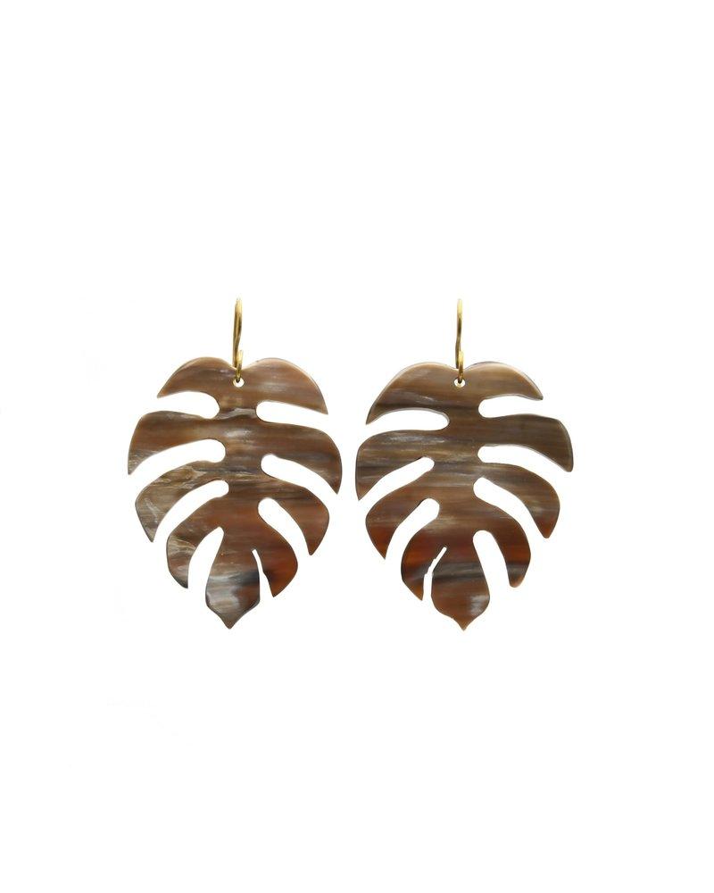 Brown Horn Palm Earrings