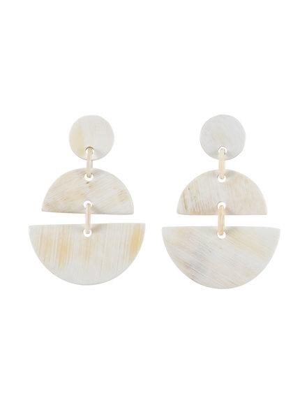 White Geo Horn Earrings