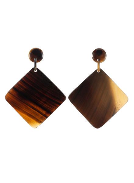 Brown Geo Horn Earrings
