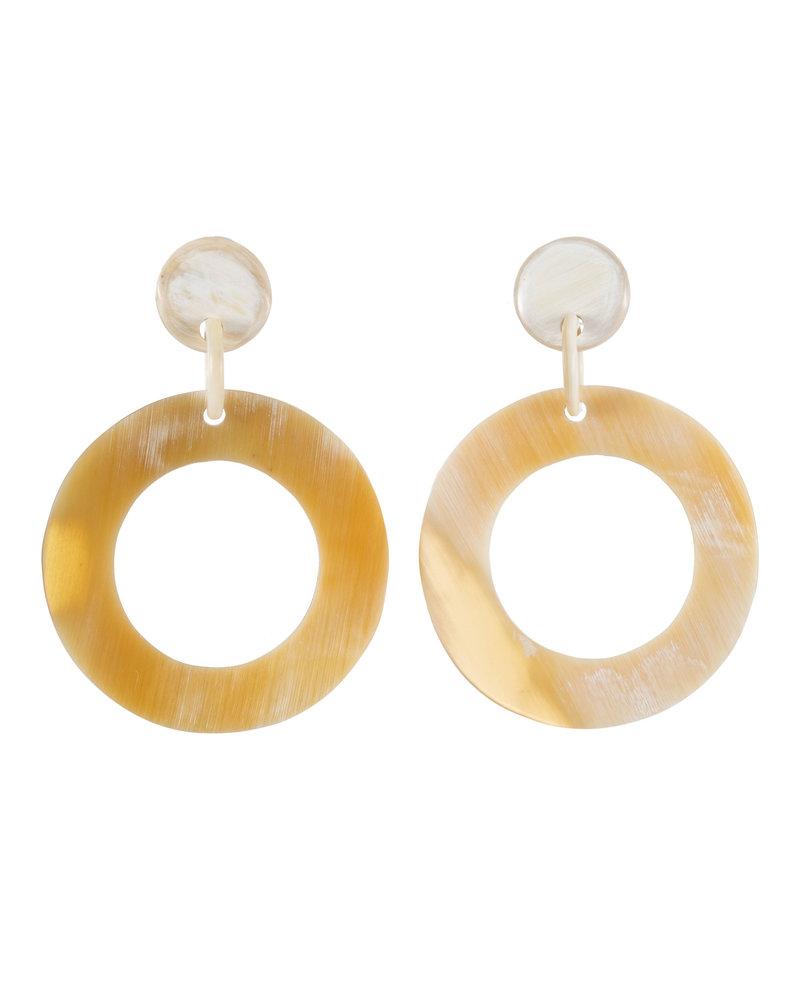 White Circular Horn Earrings