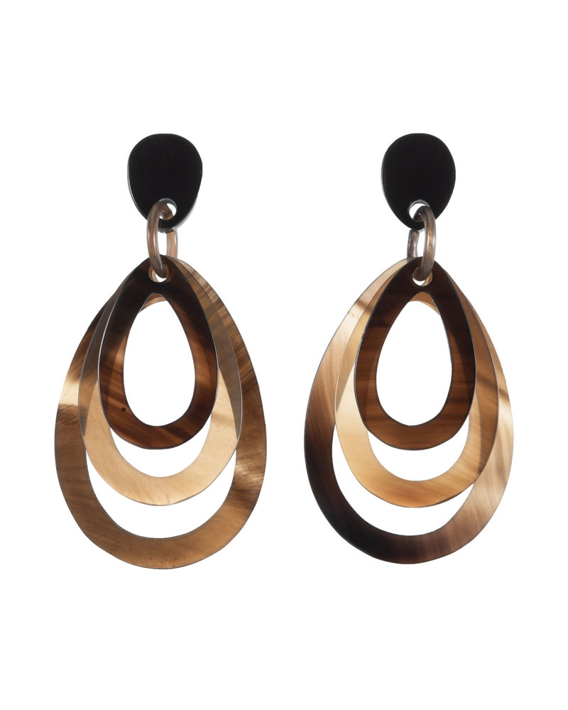 Brown Layered Oval Horn Earrings