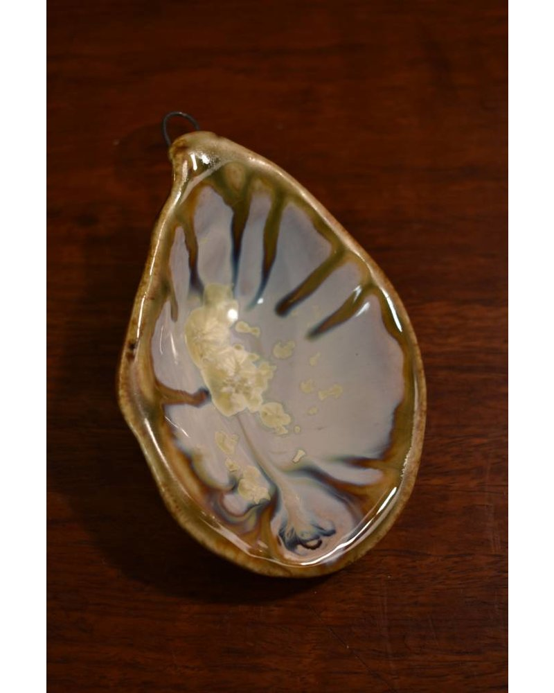 Large Oyster Ornament - Abalone & Tortoise