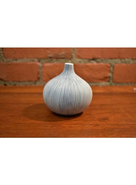 Congo Large Vase (Blue + White Thin Stripes)
