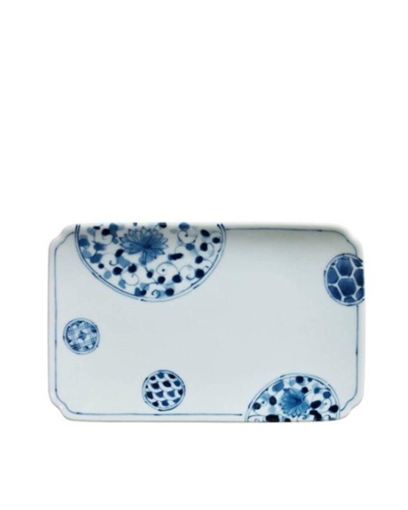 "BLUE & WHITE 8.5"" x 5.25"" PLATE - HANAIMARI"