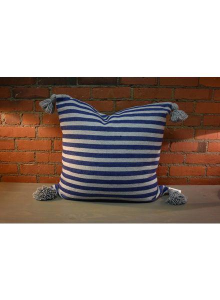 "Moroccan Pillow-Euro (26"" x 26"") - Blue & Gray Stripe"