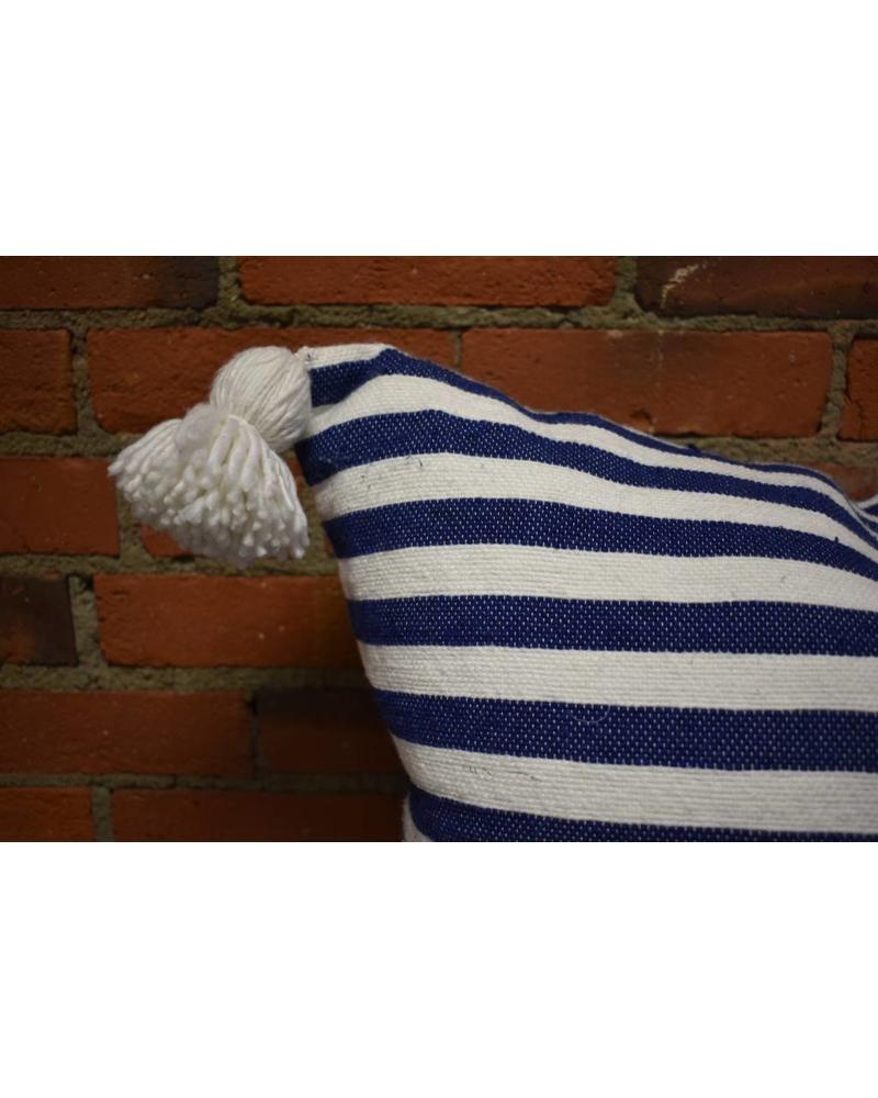 "Moroccan Pillow-Euro (26"" x 26"") - Blue & White Stripe"