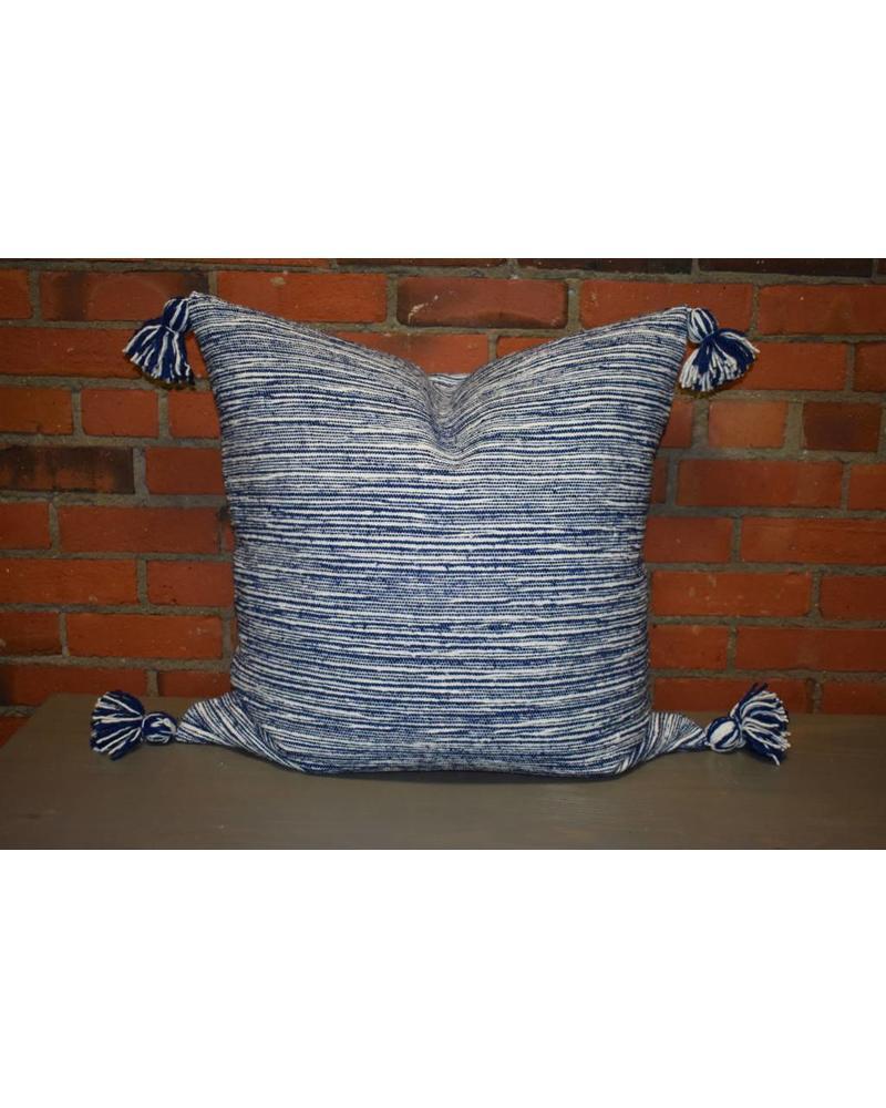 "Moroccan Pillow-Euro (26"" x 26"") - Light Blue Candy Stripe"