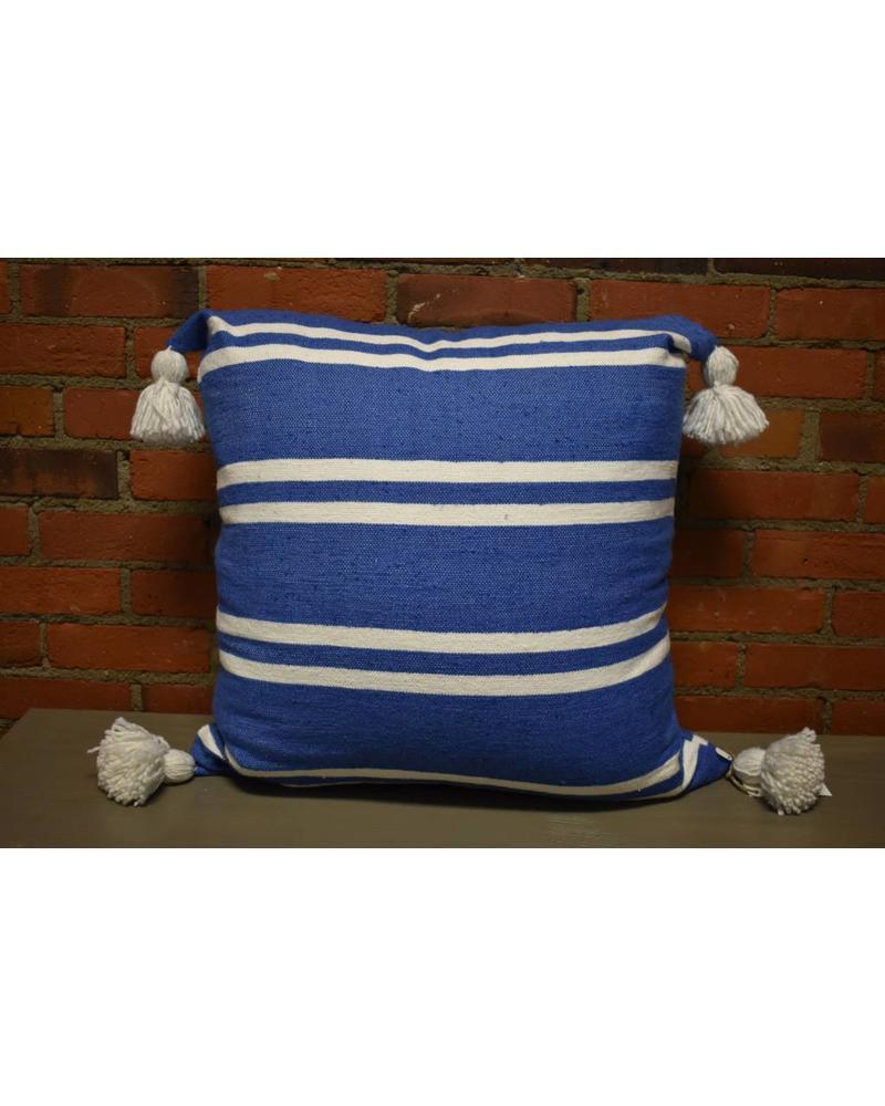 "Moroccan Pillow-Euro (26"" x 26"") - Light Blue w/ Wide White Stripe"