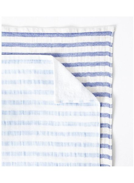 Linen Border Hand Towel, Navy