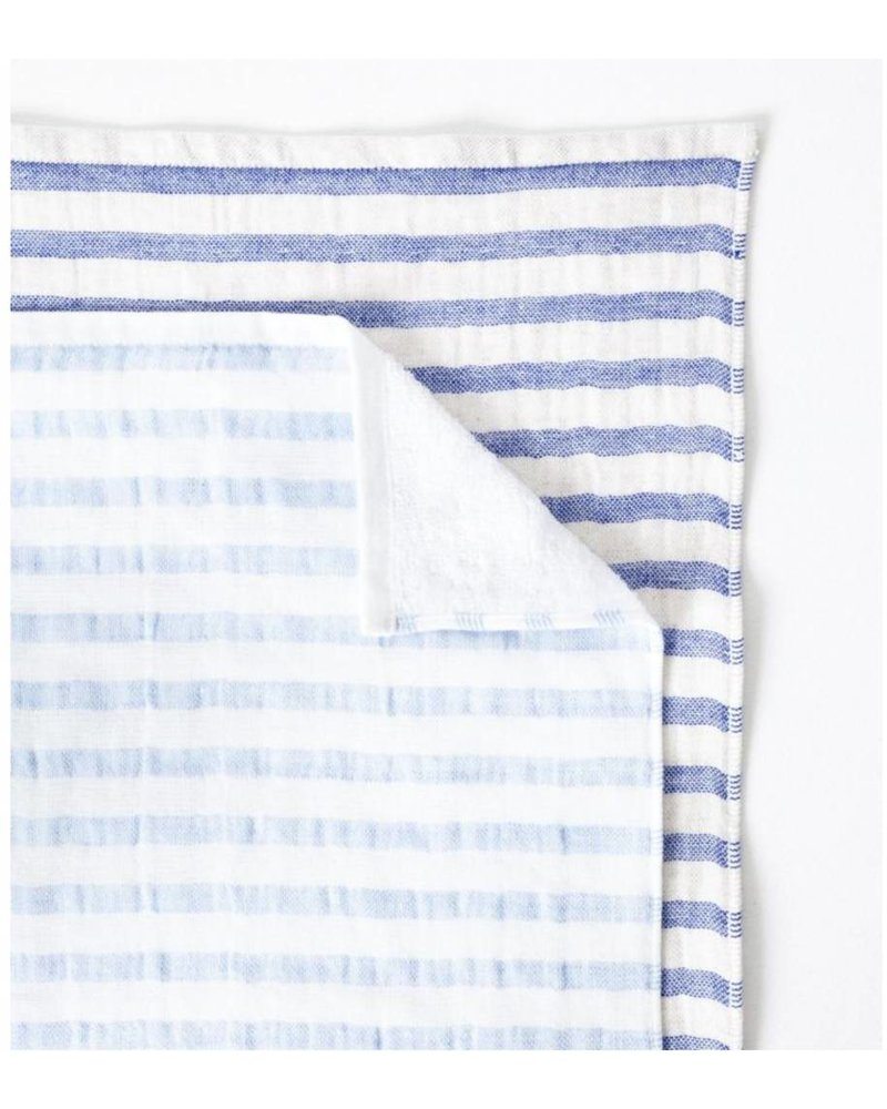 Linen Border Hand Towel, Navy