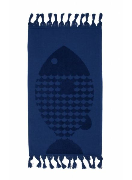 Fish Hand Towel (Indigo)