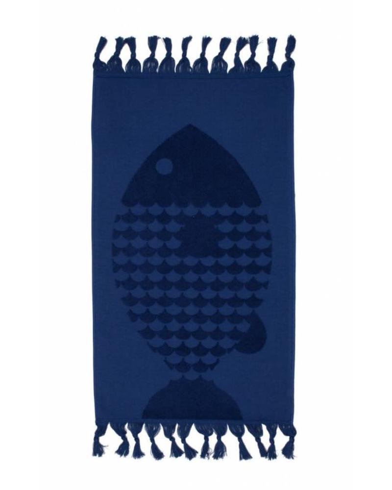 Fish Bath Towel (Indigo)