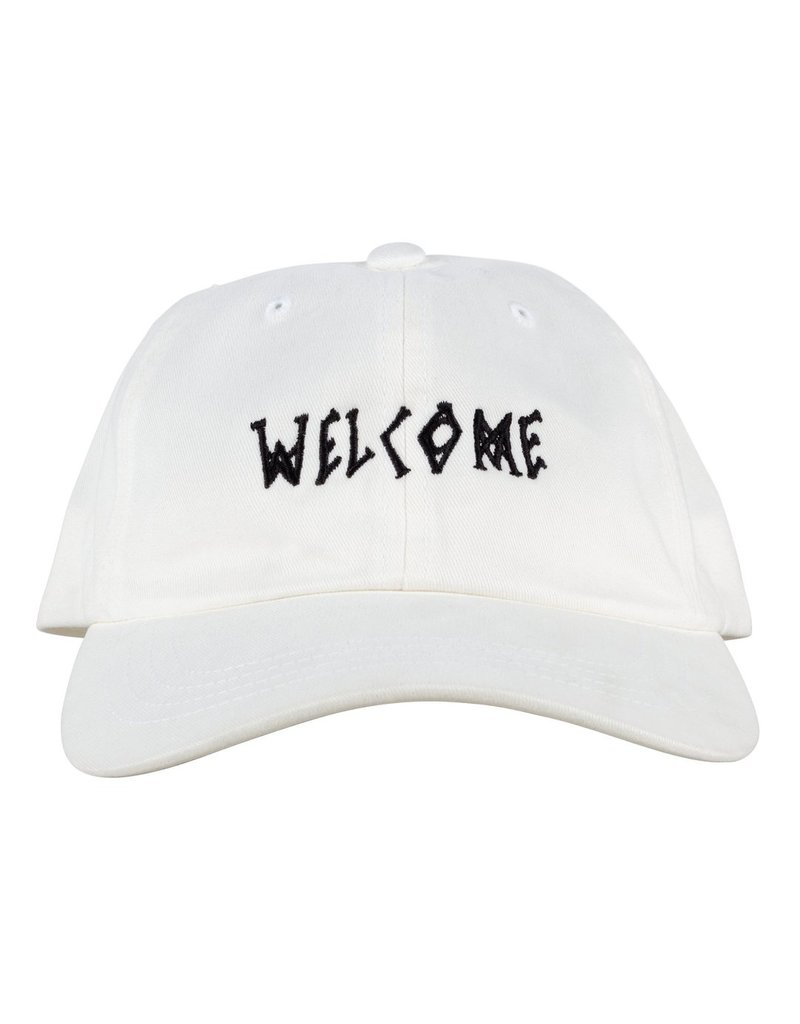 WELCOME WELCOME - SCRAWL PEACHED DAD HAT - WHT/BLK