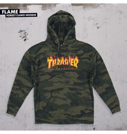 THRASHER THRASHER - FLAME HOODIE - FOREST CAMO -