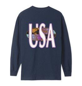 HUF HUF - QUAKE USA L/S - NVY BLZR