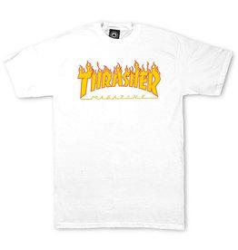 THRASHER THRASHER - FLAME LOGO S/S - WHT
