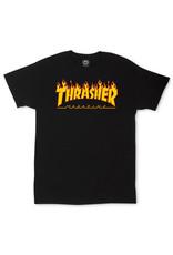 THRASHER THRASHER - FLAME LOGO S/S - BLACK -