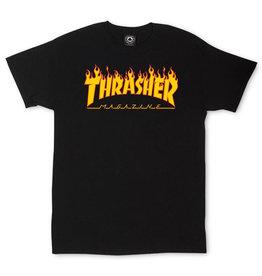 THRASHER THRASHER - FLAME LOGO S/S - BLK -