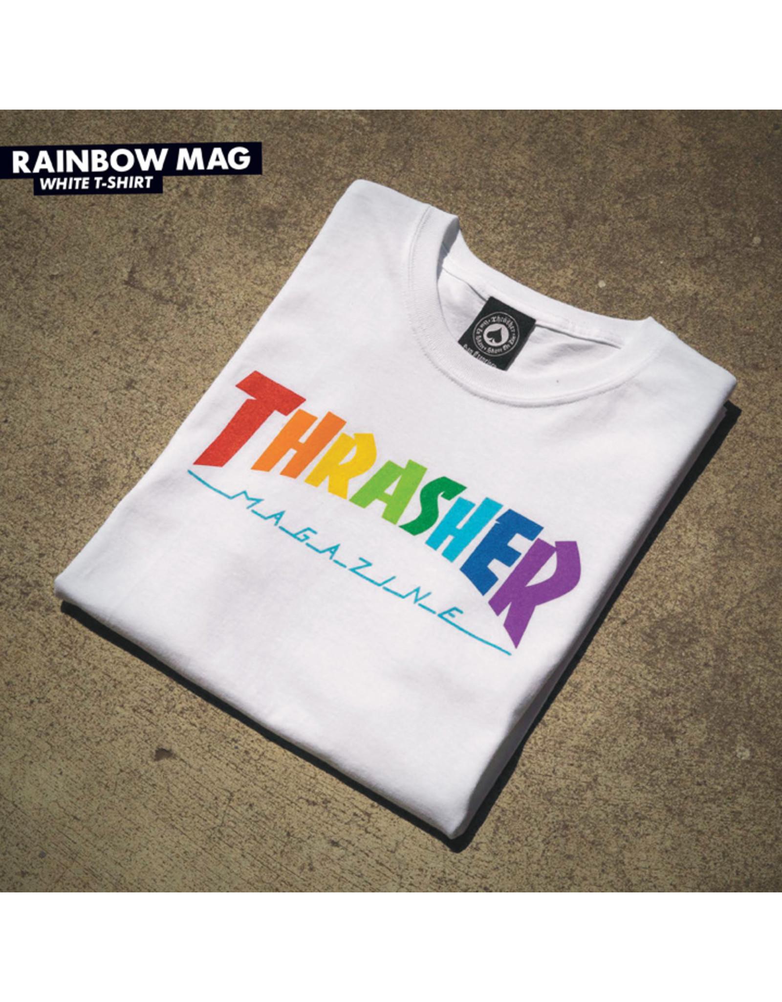 THRASHER THRASHER - RAINBOW MAG TEE - WHITE -