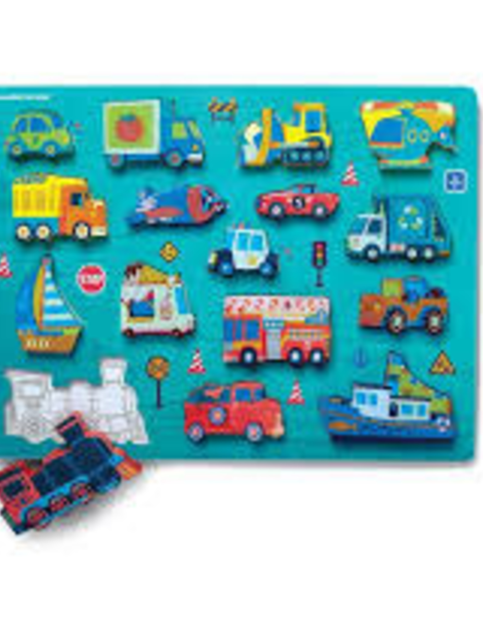 THINGS THAT GO WOOD PUZZLE & PLAYSET  6PC.