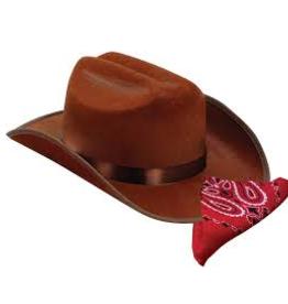 Aeromax Jr. Cowboy Hat (BROWN) w/Bandanna