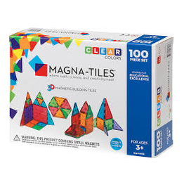 Magna-Tiles Clear Colors 100 Piece Set - size: 12 x 3 x 9 inches