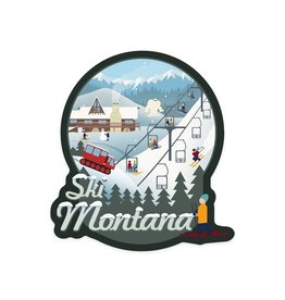 Lantern Press Montana Retro Scene Ski Resort STK