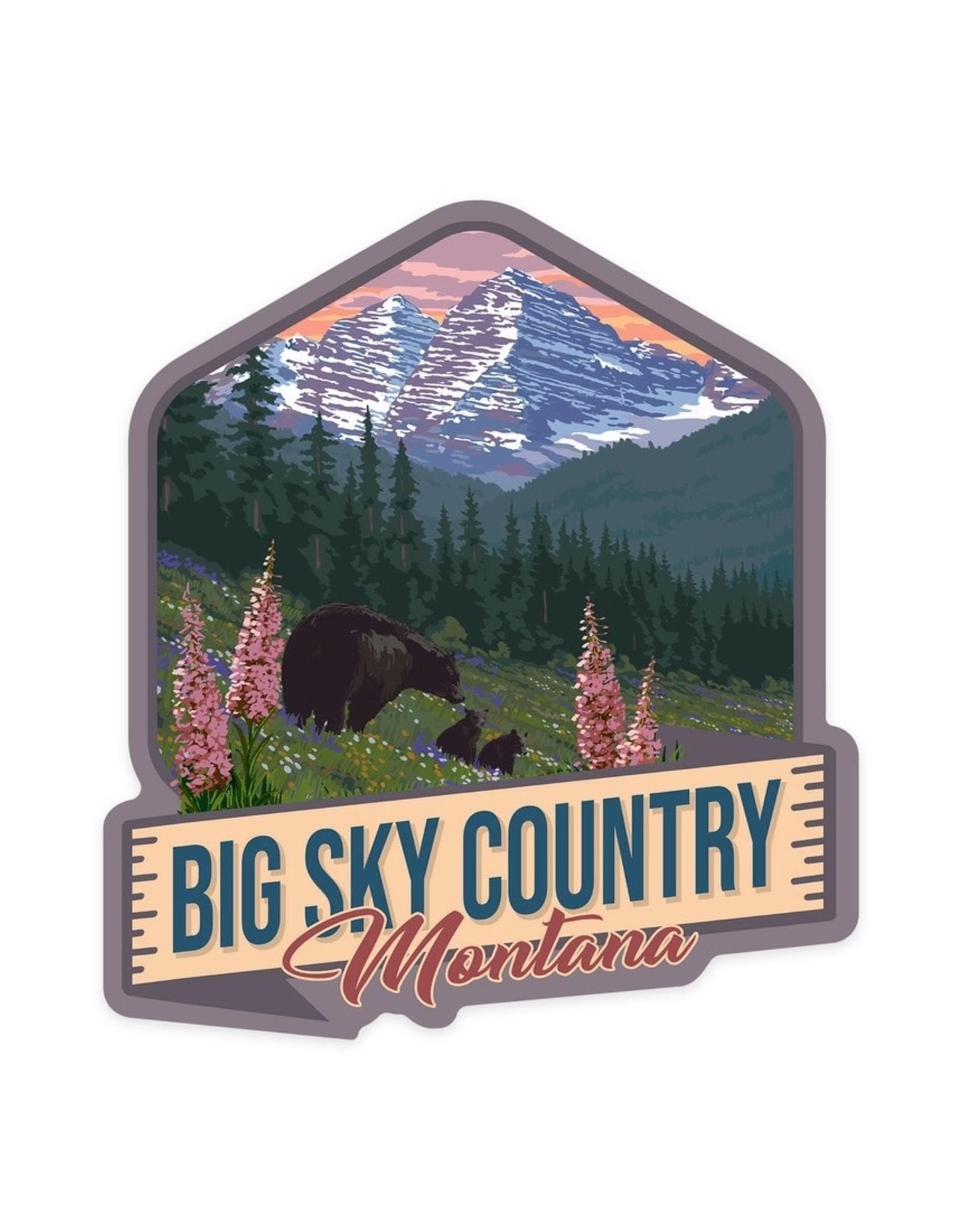 Lantern Press Big Sky Country Montana Bear and Spring Flowers STK