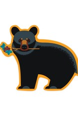 Lantern Press Black Bear with Flowers sticker