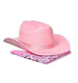 Jr. Cowboy Hat (Pink Sparkle) w/Bandanna