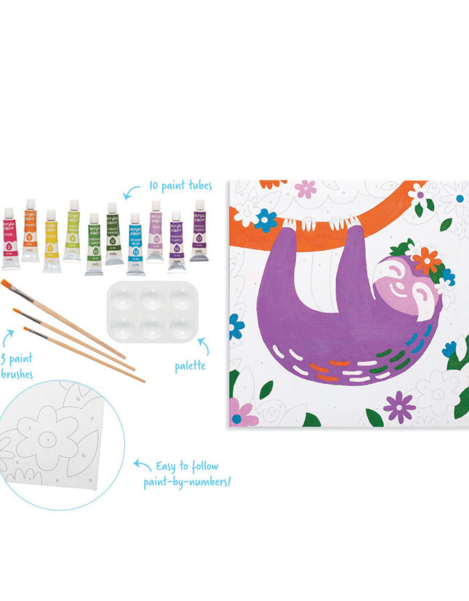 Ooly Colorific Canvas Kit Paint by Number - Happy Sloth