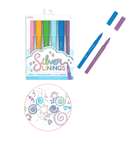 Ooly Silver Lining Colorful Outlines Markers - Set of 6