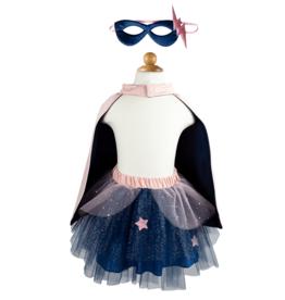 Super-duper Tutu/Cape/Mask, Pink/Navy, Size 4-6