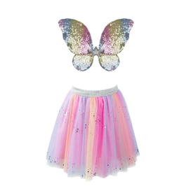 Rainbow Sequins Skirt w/Wings & Wand, Size 4-6