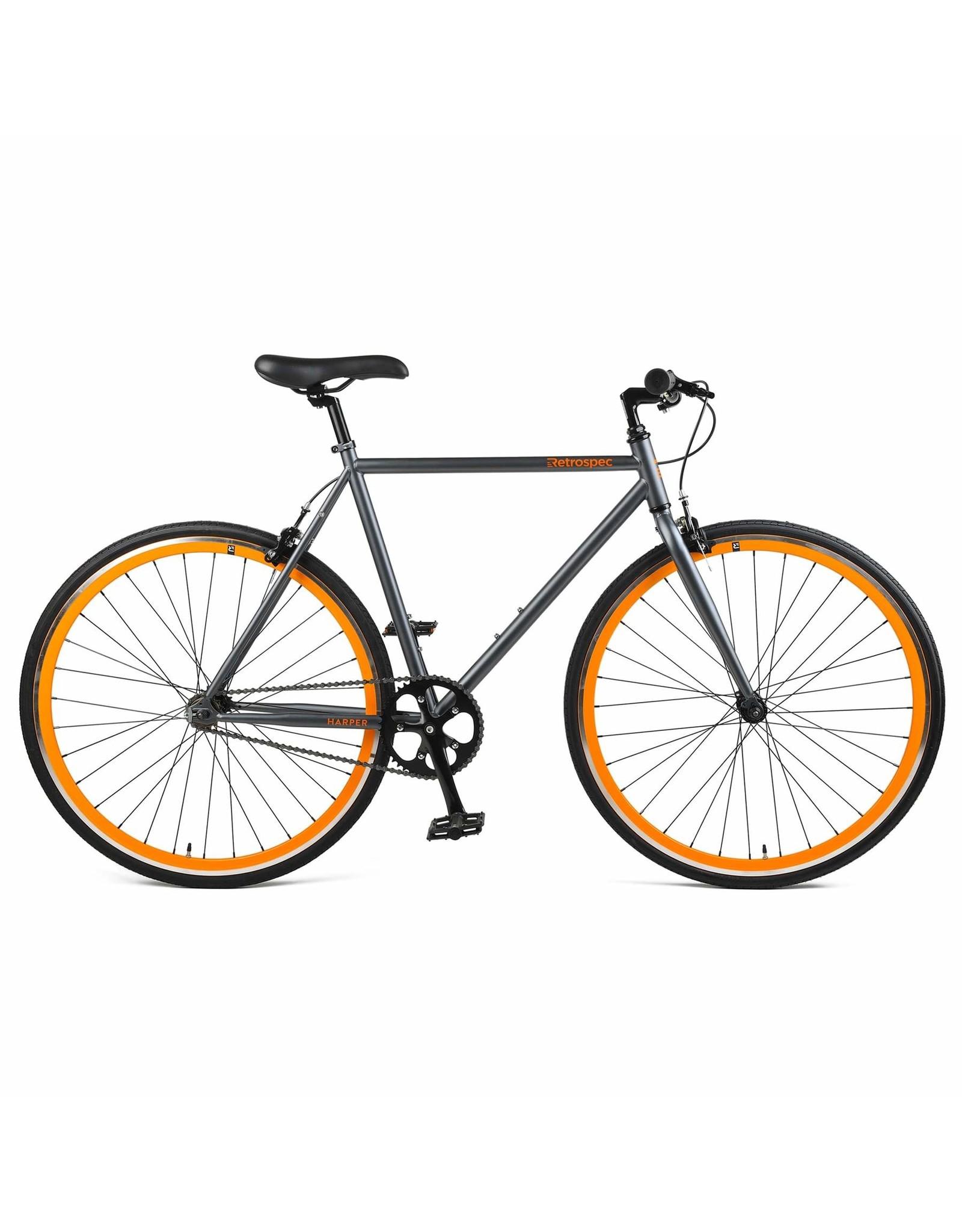 Retrospec Harper Single Speed Fixie/Single Sp Matt Graphite/Orange 57 cm